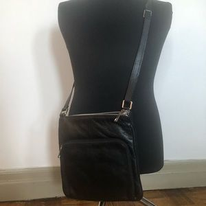 Multi-Pocket and Spacious Leather Crossbody Bag